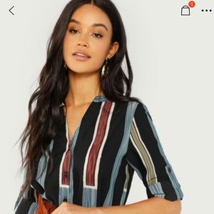 SHEIN Rolled Tab Sleeve Striped Shirt